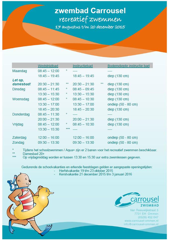 Openingstijden Binnenzwembad Carroussel