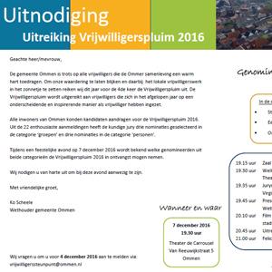 Uitnodiging uitreiking Vrijwilligerspluim 2016