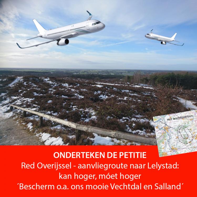 Vliegtuigen op nauwelijks 1 kilometer hoogte over Overijssel? Nee toch? Teken de petitie!